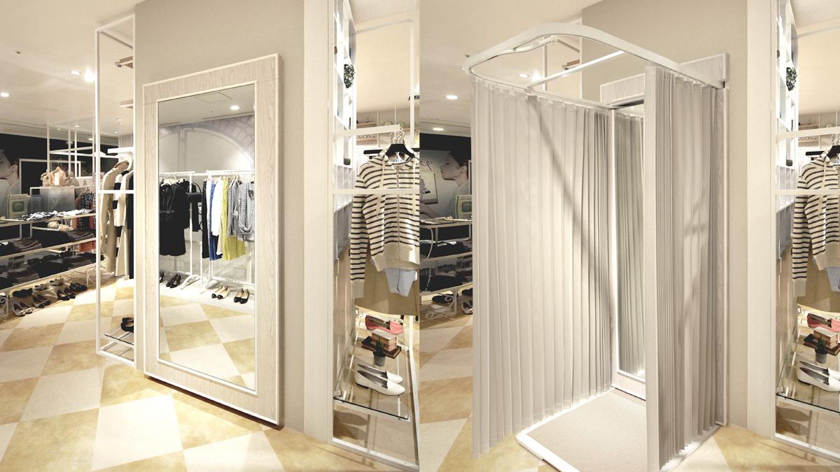 flat fitting room あなたのお店の売上があがるFRの提案です。「収納できるフィッティングルーム」